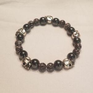 🎉🎉HP!!💀 Men's dark gray skull stretch bracelet
